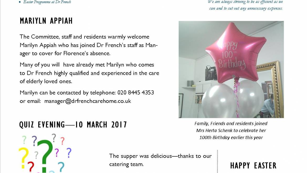 NEWSLETTER – MARCH 2017